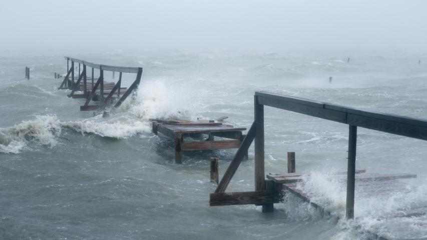 Hurricane Storm Surge Destroys A Dock During A Category 1 Storm In Texas Royalty-Free Stock Footage #1056666683