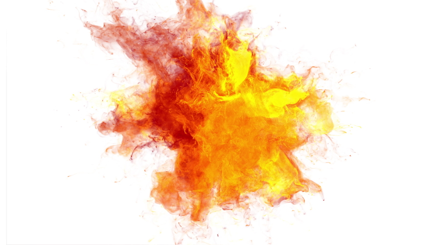Color Burst - colorful orange yellow fire smoke powder explosion. Gas blast. Fluid ink particles slow motion alpha channel isolated on white | Shutterstock HD Video #1056667055