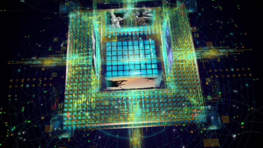 4k 3d rendering,CORE Opening,Corporate IT,Cubes and Lights,Hi-Tech Intro_cpu Royalty-Free Stock Footage #1056667265