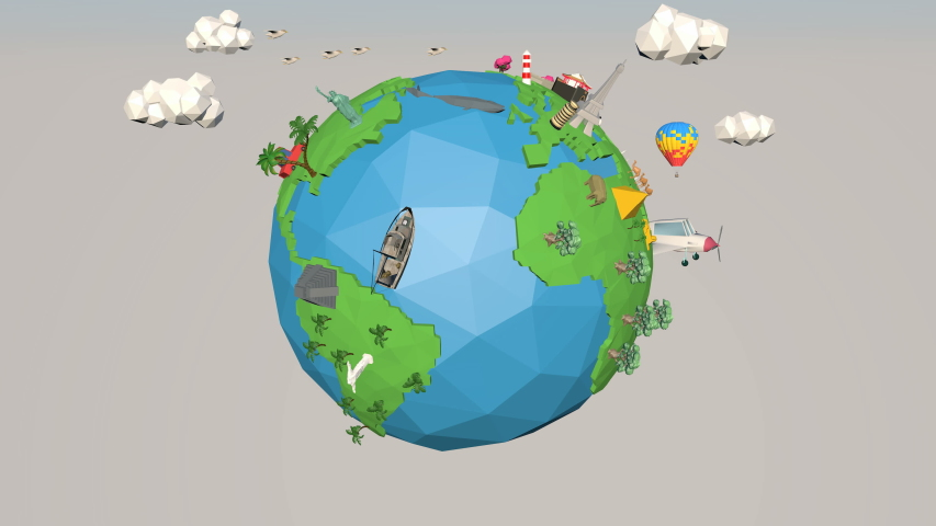 3D Cartoon low poly animation travel over the world,low poly earth rotating,world journey animation.