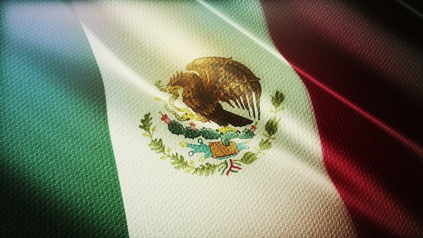 4k Mexico National flag slow loop seamless waving with visible wrinkles in Mexican wind blue sky background.A fully digital rendering,animation loops at 20 seconds.  Royalty-Free Stock Footage #1056668981