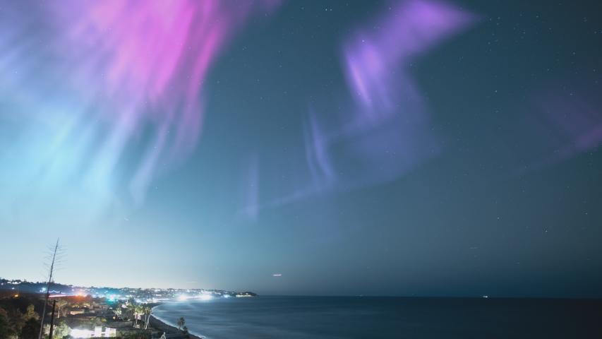 Aurora Solar Storm Above Malibu Zuma Beach California | Shutterstock HD Video #1056671183