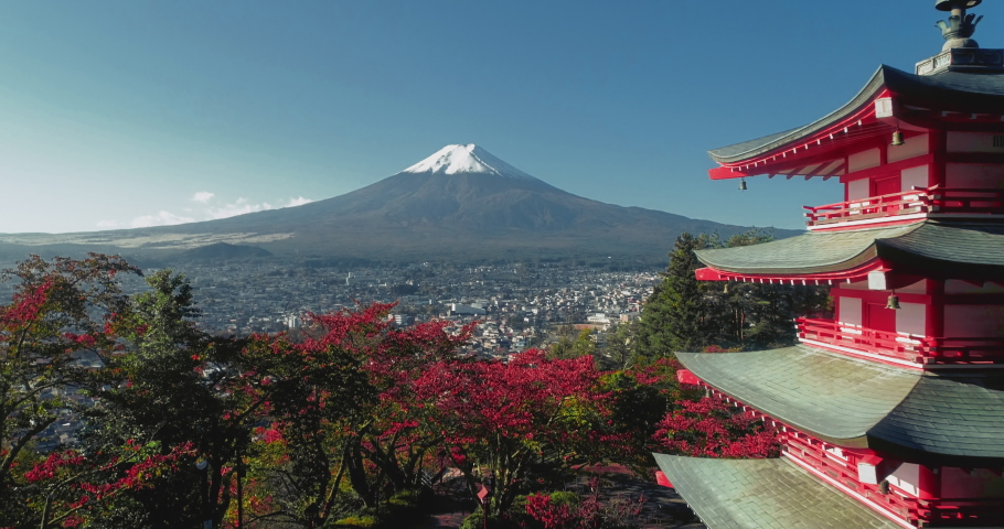 Autumn shot of Chureito Pagoda and Mt. Fuji in Japan | Shutterstock HD Video #1056671582