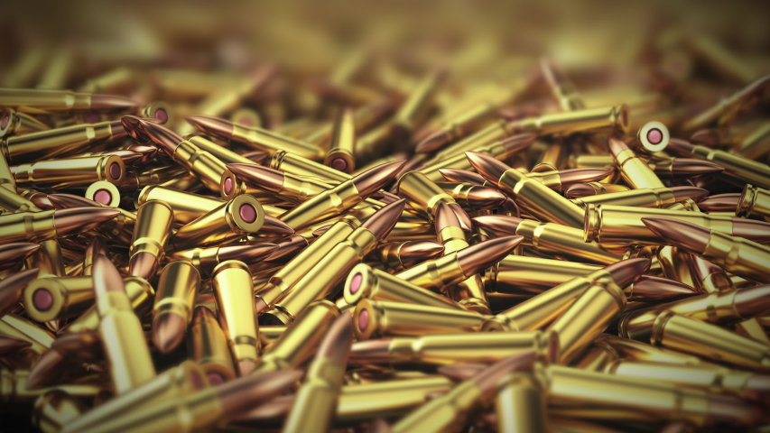 Ammo. Camera with smooth zoom and depth of field focuses on a large pile of ammo for a weapon, AK-47. 3D Animation