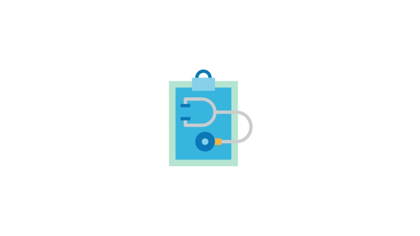 Auscultate Modern Flat Animated Icon. 4k Animated Medical & Healthcare Icon to Improve Project and Explainer Video