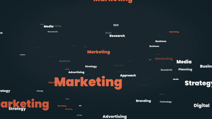 Marketing word cloud - flying through marketing related words - business SEO media advertising research strategy technology digital approach planning analytics branding words. Seamless Loop. Royalty-Free Stock Footage #1056674696