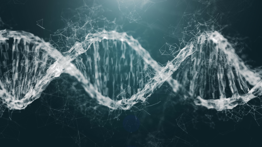 Digital DNA genome double helix animation, isolated on black background. Concept of future bio technology, medicine, gene therapy, development, engineering, AI synergy | Shutterstock HD Video #1056683327