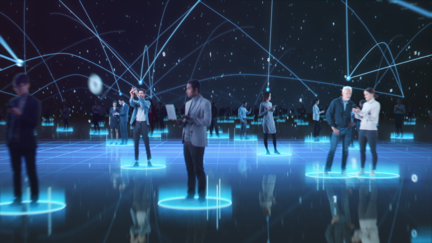 Happy People using Smartphone Devices in World Wide Connected Social Network. Diverse People do E-Business, Communicate, Send Messages. Visualization of Internet Virtual Reality Interconnected Persons | Shutterstock HD Video #1056687395