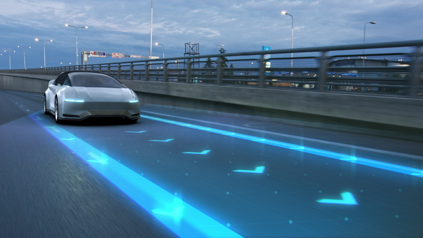 Futuristic Concept: Autonomous Self-Driving 3D Car Moving Through City Highway. Animated Visualization Concept: Sensor Scanning Road Ahead for Vehicles, Danger, Speed Limits. Day Urban Driveway