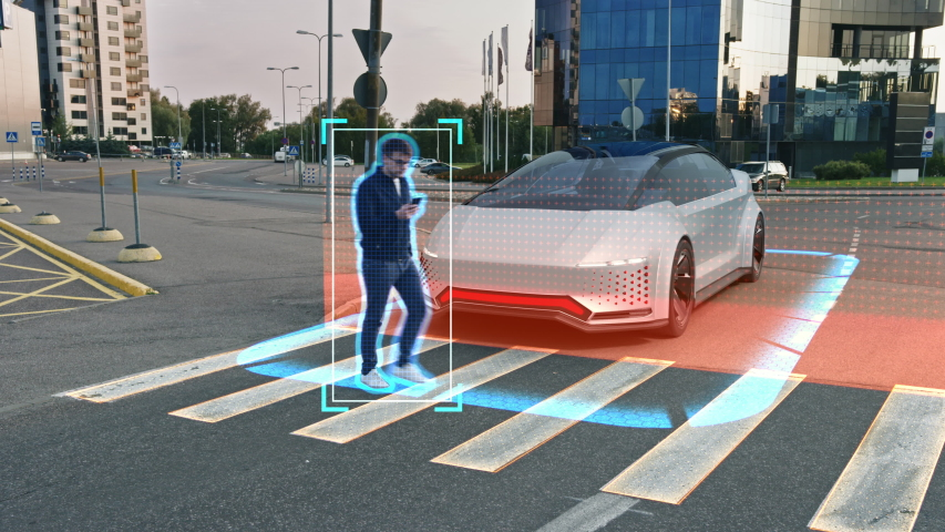 Self-Driving 3D Car Futuristic Concept: Person Steps on a Crosswalk, Autonomous Vehicle Stops Before Him. Visualization of Safety Features: , Detecting Pedestrian, Stopping before Scanned Crosswalk Royalty-Free Stock Footage #1056689537