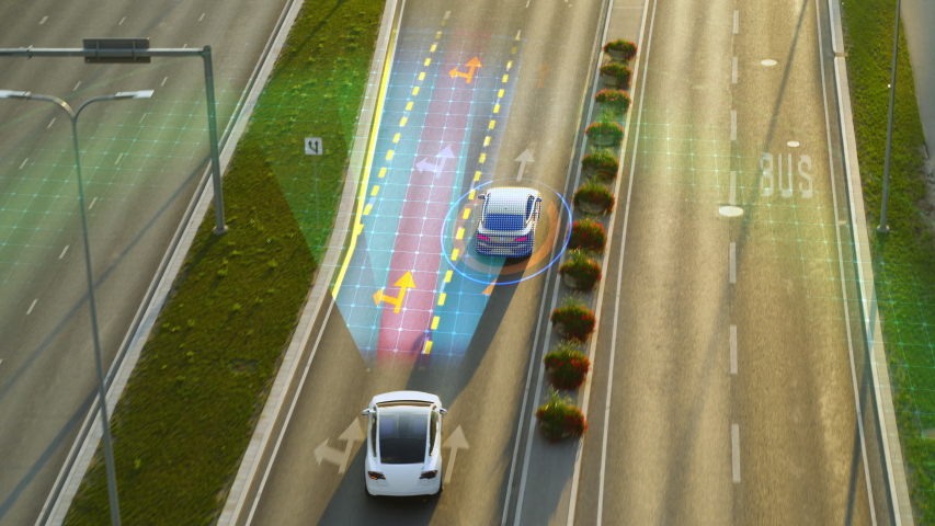 Futuristic Concept with Aerial Top Down Drone View: Autonomous Self Driving Car Moving Through City Highway, Overtaking Cars. Animated Visualization Concept: Sensor Scanning Road Ahead for Vehicles.