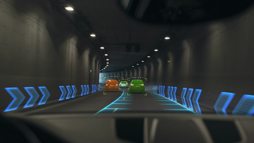 Futuristic Concept: Autonomous Self-Driving Car Moving Through Tunnel, Head-up Display HUD Showing Infographics: Speed, Distance, Navigation. Road Scanning. Driver Seat Point of View POV Royalty-Free Stock Footage #1056693611