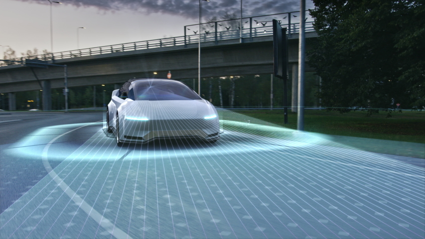 Futuristic Concept: Autonomous Self-Driving 3D Car Moving Through City Highway. Animated Visualization Concept: Sensor Scanning Road Ahead for Vehicles, Danger, Speed Limits. . Front Following View | Shutterstock HD Video #1056693617