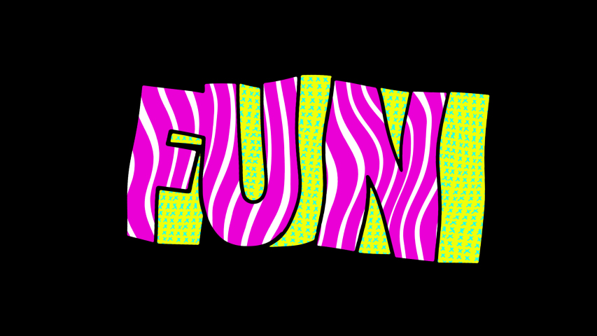 Seamless funny animation of extruded letters in comic style, fluorescent textures and patterns. Fun 3D text backdrop with a doodle cartoon illustration look in stop motion isolated with alpha channel. | Shutterstock HD Video #1056696899
