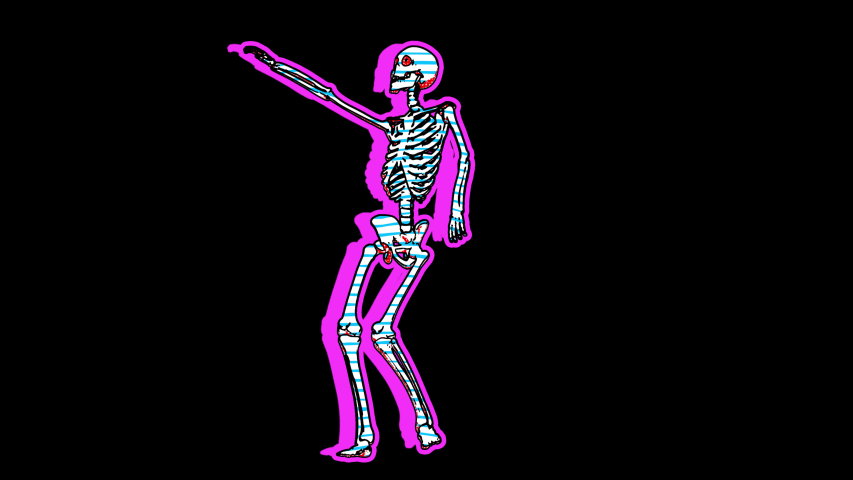 Sexy dancing skeleton in comic style, fluorescent textures and patterns. Halloween zine culture video loop with a doodle cartoon illustration look in stop motion isolated with alpha channel. | Shutterstock HD Video #1056696908