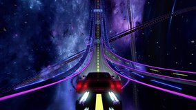 80s retro futuristic space drive seamless loop. Stylized cosmic highway in outrun VJ style with stars and planet. Vaporwave 3D animation background for music video, DJ set, clubs, EDM music
