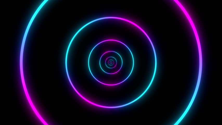 Moving through circles. Abstract colorful background in bright neon color. Modern colorful wallpaper. Loop animation. 3d rendering.