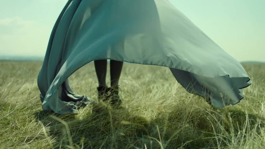 Rear view of woman's leg standing on field . Young stylish lonely girl stay on meadow field . Long skirt fabric flowing by wind in slow motion . Fashion style . Shot on ARRI Alexa Cinema Camera Royalty-Free Stock Footage #1056712541