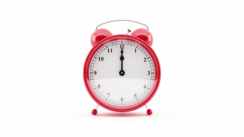 Alarm clock. 4k 3D Animation of an alarm clock