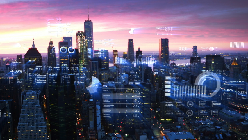 Futuristic city skyline. Big data, Artificial intelligence, Internet of things. Aerial view of New York with financial charts and data. Stock exchange figures.