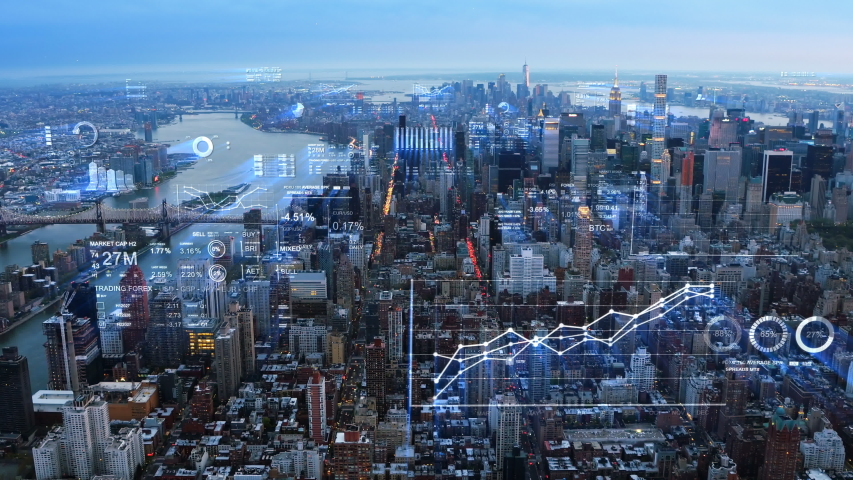 Futuristic city skyline. Financial charts and data in New York. Holographic information. Artificial intelligence, Internet of things. Stock exchange figures.