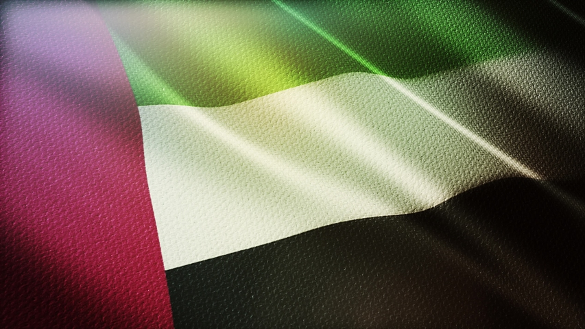 4k United Arab Emirates National flag slow loop seamless waving with visible wrinkles in Emirates UAE wind blue sky background.A fully digital rendering,animation loops at 20 seconds.