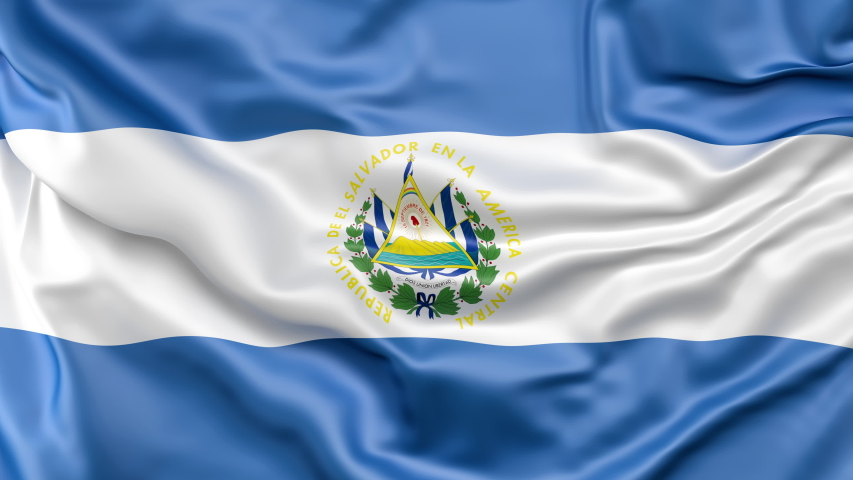 A high quality footage of 3D El Salvador flag fabric surface background animation.