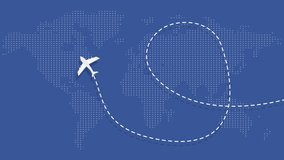 Video animation with white plane flying on the world's map leaving a trail behind. The plane makes a loop on blue background and and flying away from screen. World travel, vacation, journey concept.