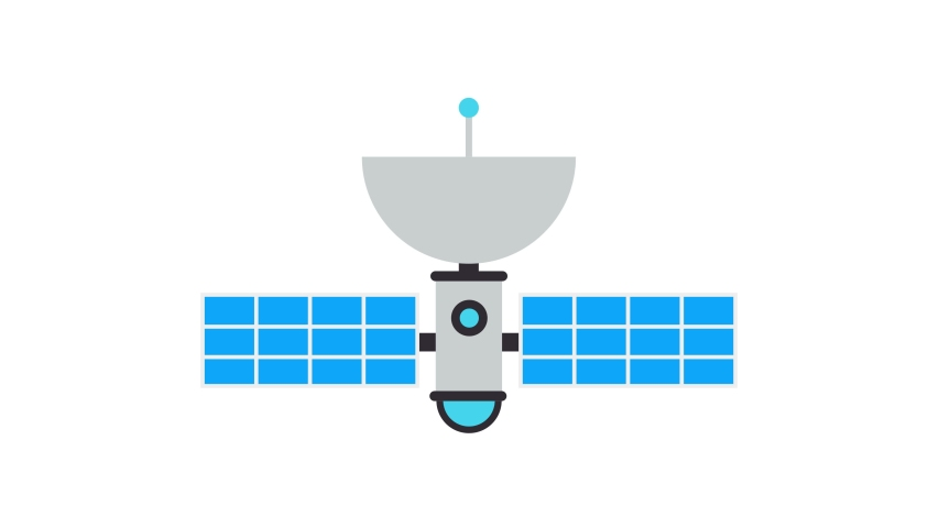 Satelite Flat Animated Icon. 4k Animated Media Technology Icon to Improve Project and Explainer Video | Shutterstock HD Video #1056724955