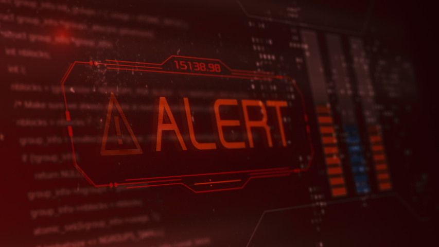 computer screen with programming code and an alert message, concept of computer security, malware or hacker attack (3d render) Royalty-Free Stock Footage #1056727613