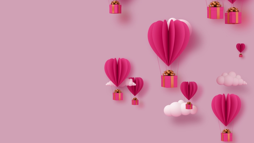 Valentine's day concept background, balloon heart shape with gift box. Royalty-Free Stock Footage #1056733766