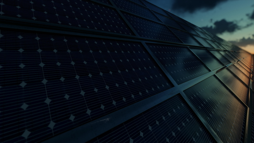 Close up of solar power panels farm against timelapse magical sunrise   Shutterstock HD Video #1056734921