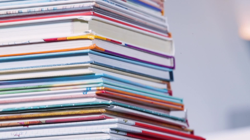Stack of books. Oral procedure for working with printed text. Perception text and its understanding. Reading comprehension, awareness raising. Leisure activities in self-isolation quarantine COVID-19. Royalty-Free Stock Footage #1056752417