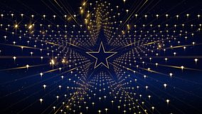 Gold star Background in Loop, stage video background for nightclub, visual projection, music video, TV show, stage LED screens, party or fashion show.