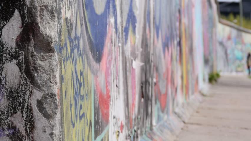 Close up on berlin wall graffiti no people shallow deep of field germany