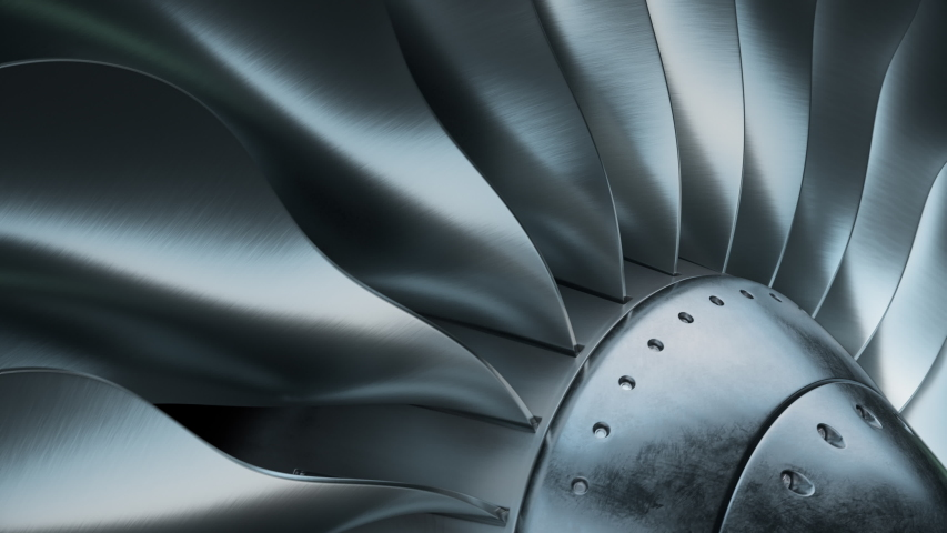 Turbine blades of airplane, Jet engine. Perspective view of a jet engine and blades. 4K ProRes loopable 3D animation. Royalty-Free Stock Footage #1056789173