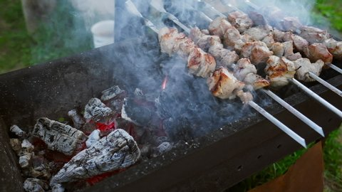 BBQ on skewers. Pork meat and vegetables being grilled on the coils.