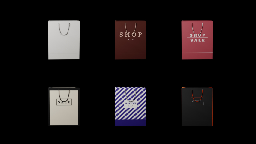 Paper bag brand store. Loop, Alpha background, discount, sale, space for text. | Shutterstock HD Video #1056837725