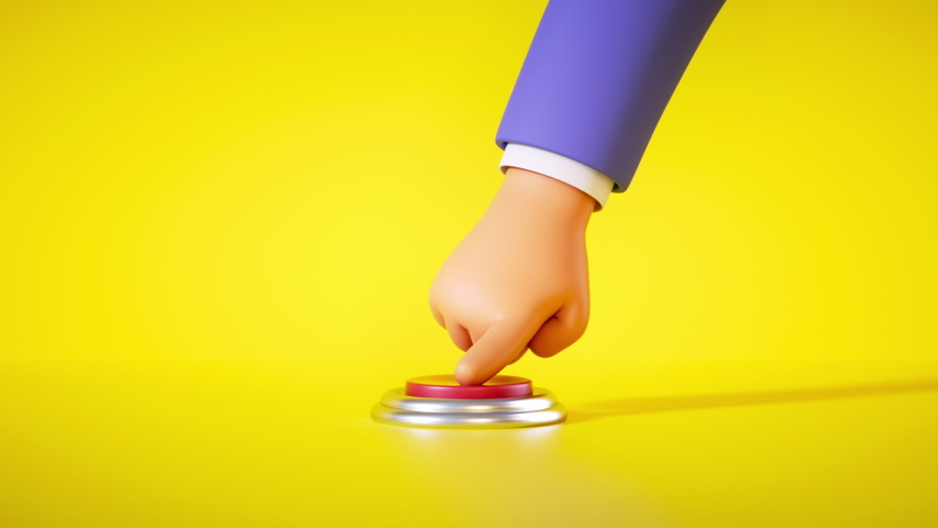 3d render, cartoon hand in blue sleeve is pressing the big red alert button isolated on yellow background. Launch metaphor, activation concept. Seamless looping animation | Shutterstock HD Video #1056840143