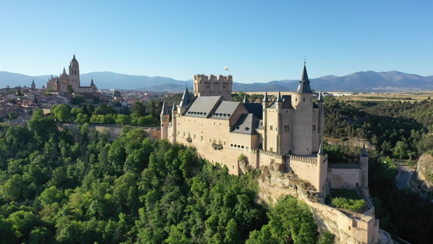 Aerial view of fortress Alcazar of Segovia. Spain. High quality 4k footage Royalty-Free Stock Footage #1056847949