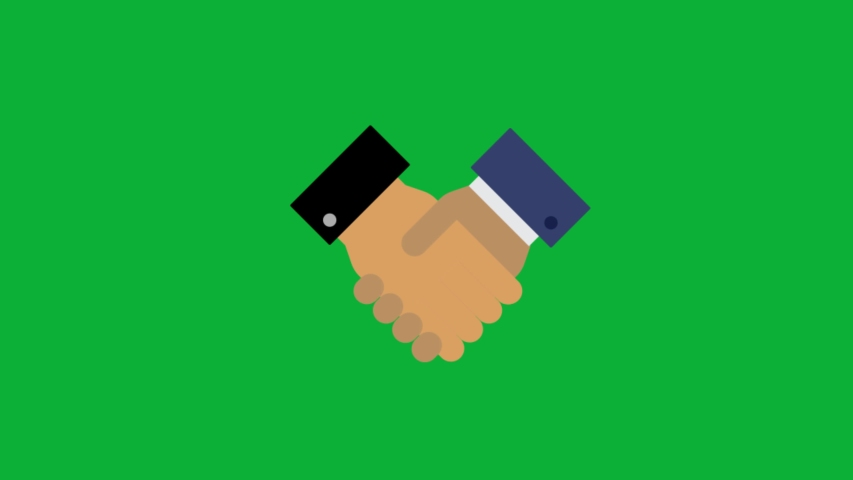 Partnership sign - Shaking hands agreement animated cartoon icon on Green screen background Royalty-Free Stock Footage #1056850499