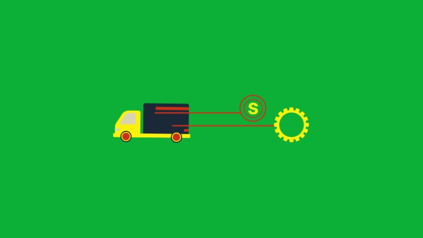 Shipping truck - shipping animated cartoon icon on Green screen background
