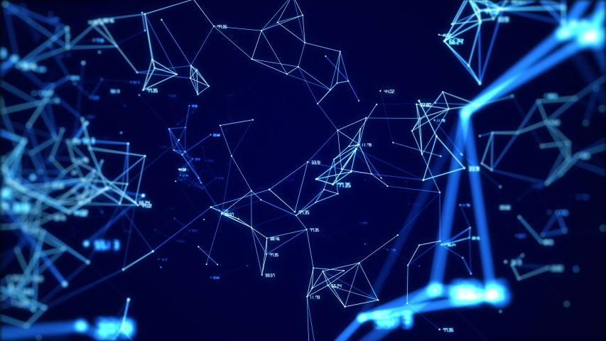 Animation of the global digital network with numbers abstract background looped. | Shutterstock HD Video #1056850571