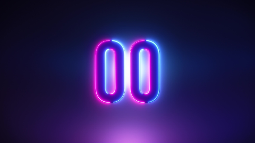 Purple and blue Neon Light 60 Seconds Countdown on black background. Running dynamic light. Timer from 60 to 0 seconds. 1 minute countdown. 30 or 10 seconds. Big 3D Numbers animated for intros | Shutterstock HD Video #1056859847