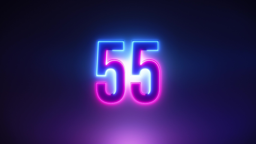 Purple and blue Neon Light 60 Seconds Countdown on black background. Running dynamic light. Timer from 60 to 0 seconds. 1 minute countdown. 30 or 10 seconds. Big 3D Numbers animated for intros Royalty-Free Stock Footage #1056859847