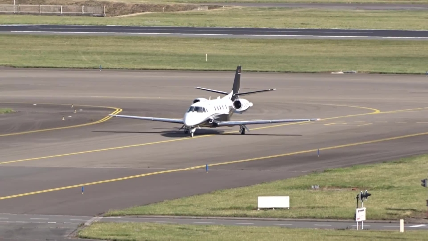 Brussels, Belgium - July 2 2020:  Private Jet Cessna Citation XLS Plus (DC Aviation) Taxiing at AirportArrival/Arriving/Taxiing at Brussels Airport Zaventem (Business/Corporate Jet)