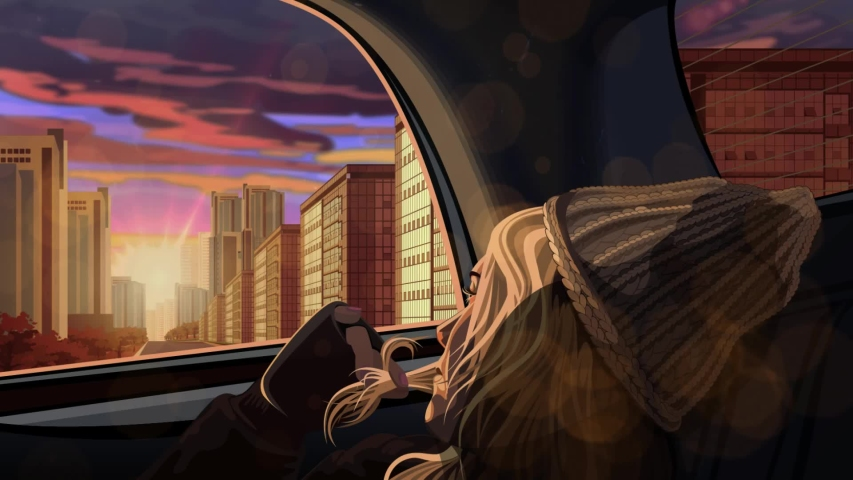 Animation- A young woman in the back seat goes through the town looks at the sunset sky. Evening slow ride around the city by car. Warm sunlight and sun glare on car windows. Seamless loop VJ