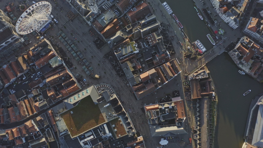 Ghent Belgium Aerial  Vertical view flying over downtown and canal neighborhood shops area - November 2019 | Shutterstock HD Video #1056891485