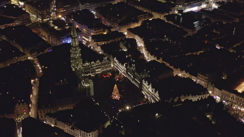 Brussels Belgium Aerial v32 Birdseye view flying around Grand Place square at dusk night - December 2019 | Shutterstock HD Video #1056891533