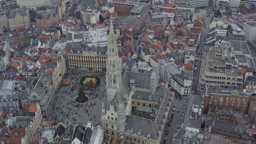 Brussels Belgium Aerial  Birdseye view flying around Grand Place square - December 2019 | Shutterstock HD Video #1056891605